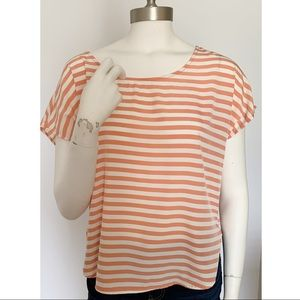 Peach Coral & White Striped High Low Boatneck Top